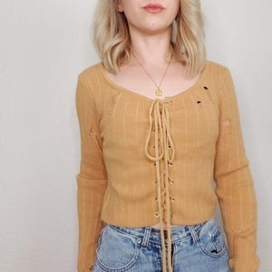 Lorna Rose Camel Cropped Lace Up Ribbed Sweater